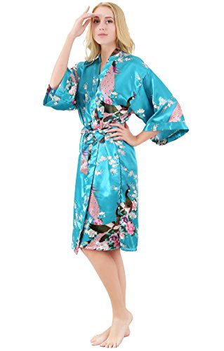 ALLINLOVER Women s Floral Kimono Robe Silk Peacock Printing Soft Breathable  for Bride and Bridesmaids Nightgown d7b6e5ffa