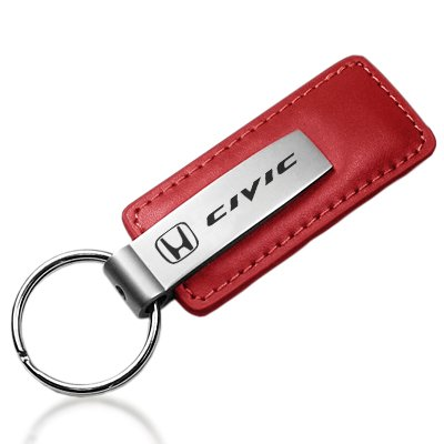 Honda Civic Red Leather Car Key Chain , Official Licensed