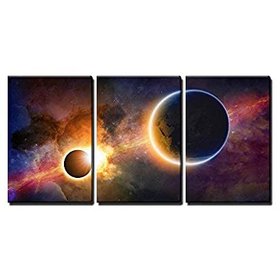 Top Quality Design, Elegant Picture, Abstract Scientific Background Glowing Planet Earth in Space x3 Panels