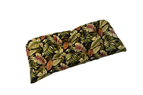 Indoor / Outdoor Cushion for Wicker Loveseat Settee - Twilight Black, Green, Burgundy, Tan Tropical Palm Leaf