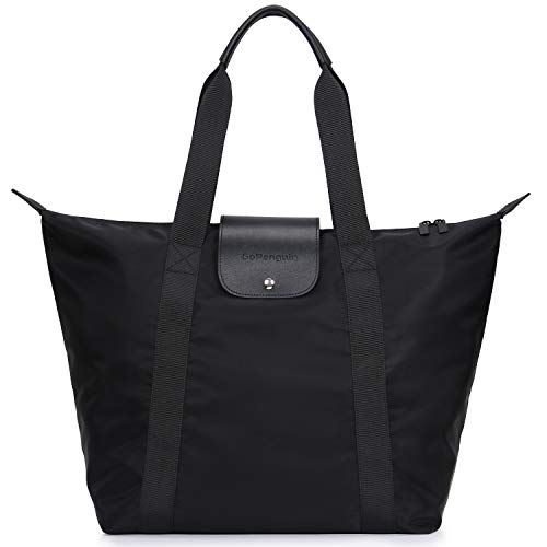 GoPenguin Tote Bag for Women, Travel Large Capacity Carryall Tote Shoulder Bag, Black Nylon Foldable Utility Tote Bag for Shopping with Zipper