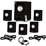 Acoustic Audio AA5171 Home 5.1 Bluetooth Speaker System with Optical Input and 4 Extension Cables