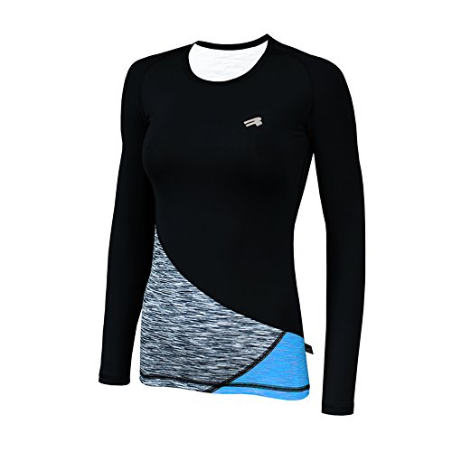 ROUGH RADICAL Damen langarm Funktionsshirt Laufshirt REACTION LS (L, schwarz/grau/türkis)
