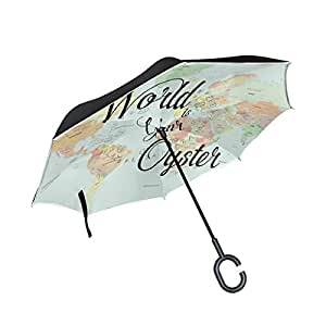 ALAZA Inside Out Folding Inspirational Quote Retrto World Map Inverted Umbrella, Large Double Layer Outdoor Rain Sun Car Reversible Umbrella