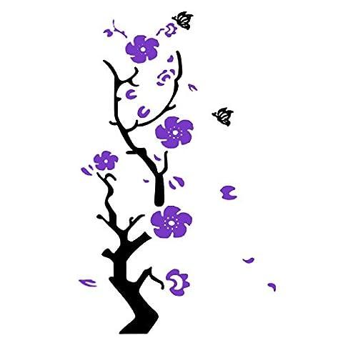 uxcell Acrylic Plum Flower Print Living Room 3D Self Adhesive Wall Sticker Dark Purple (Dark Purple Wallpaper)