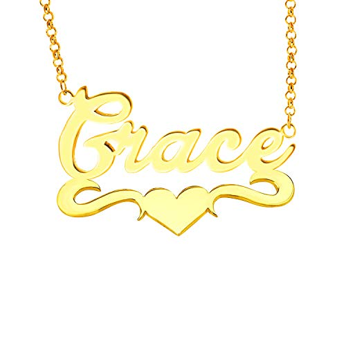 Lovmer Personalized Gold Name Necklace Heart Pendant Necklace (Grace) ()