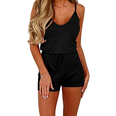 Dreamskull Women Summer Casual Spaghetti Strap Adjustable Waist Drawstring Short Jumpsuit Cami Romper for Girl: Clothing