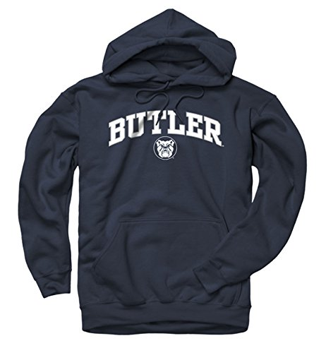 Campus Colors Butler Bulldogs Adult Arch and Logo Hooded Sweatshirt - Navy, Large (White Butler)