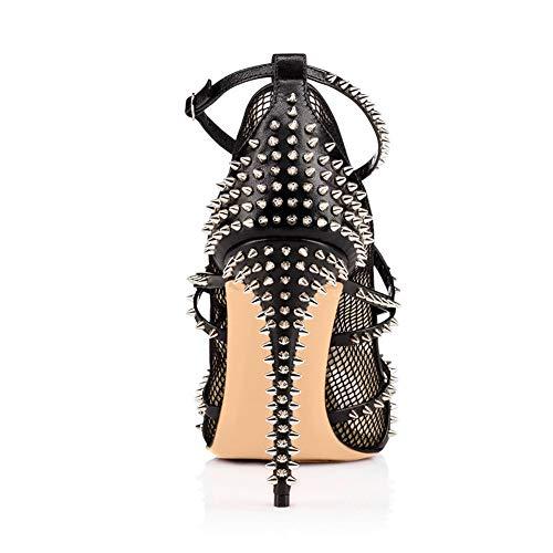 Sexy Haut Nouvelle Et b Mode Européen 2019 Rivets yanjing He De Femmes Dames Coutures 45 Maille Style Américain Talons Hauts Sandales Talon vwTpZqX