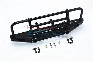 GPM Traxxas TRX-4 Defender/TRX-4 Tactical Unit/Axial SCX10 II Upgrade Parts Aluminum Adjustable Front Brushguard Bumper - 1 Set Black