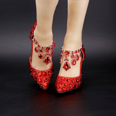 High 9Cm 9Cm Bride'S Heels 6 Sandals Shoes Rhinestone VIVIOO Crystal Shoes Shoes Wedding Sandals Pumps Heel Elegant Red Bowl Diamond Female Prom wxqHvY8Hz