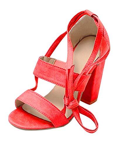 Scarpe Toe Beach Minetom Blocco Partito Casuale A A Estate Rosso Sandals Peep Donna Sandali Tacco Moda Shoes Eleganti qP1qAS8