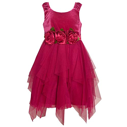 Rare Editions Little Girls Burgundy Cascade Tea-Length Christmas Dress 3T (Dress Christmas Editions Rare)