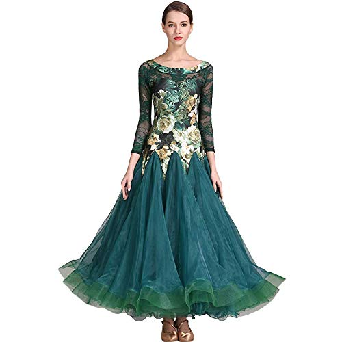 品質が完璧 現代の女性の大きな振り子高密糸ファッションモダンダンスドレスタンゴとワルツダンスドレスダンスコンペティションスカートレース長袖ドレスダンスコスチューム B07HHPS6WX XL|Green XL|Green B07HHPS6WX Green Green XL, ナビッピオンライン:1a599c29 --- a0267596.xsph.ru