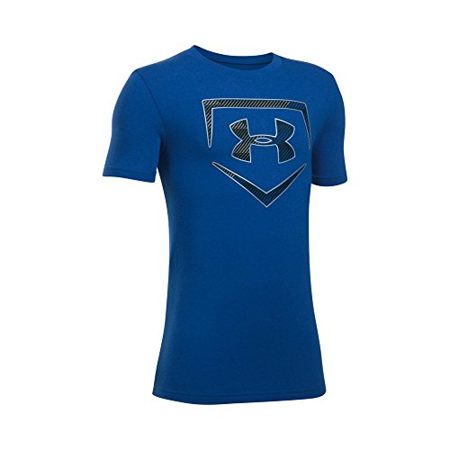 Under Armour Boys' Baseball Logo T-Shirt, Royal/Metallic Silver, Youth (Large Logo T-shirt)