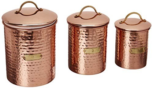 Mud Pie 4935001 Hammered Copper Set of 3 Kitchen Canister Set, One Size,