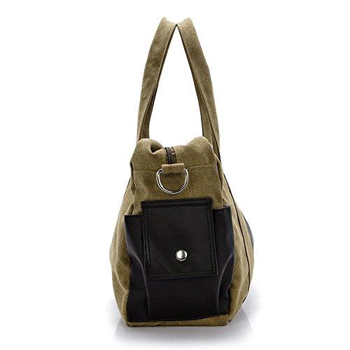 OOLIFENG Bolso de mano de lona hombres de recorrido de bolso mensajero de hombro de bolso , brown Khaki