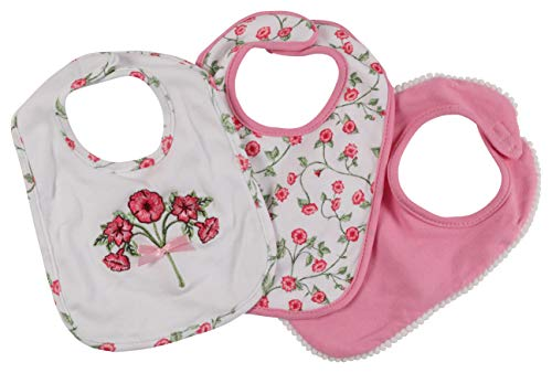 - Laura Ashley Laura Ashley 3 Pack Infant Bibs with Flower Bouquet Ebroidered Applique