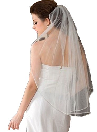 Peprom Short Wedding Veils Headpieces with Crystals and Comb Ivory