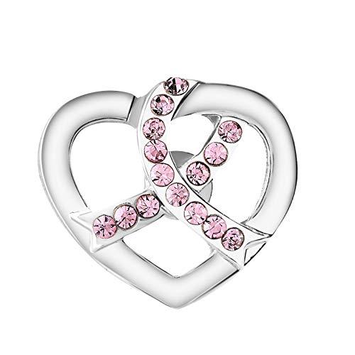 Breast Cancer Awareness Silver Heart Crystal Pink Ribbon Pin (1 Pin - Retail) ()