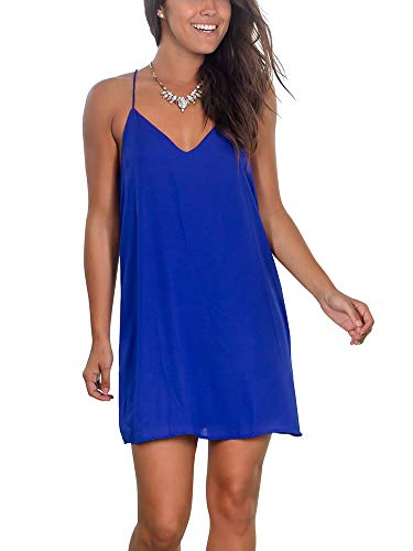 INFITTY Womens Summer Sexy V Neck Mini Dress Spaghetti Straps Short Dress Chiffon Beach Sundresses Royal Blue Large (Black Royal And Stripe Blue Dress)