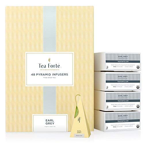 Tea Forte Earl Grey EVENT BOX Bulk Pack, 48 Handcrafted Black Tea Pyramid Infuser Bags by Tea Forte