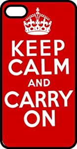 Keep Calm & Carry On Black Plastic Case for Apple iPhone 5 or iPhone 5s