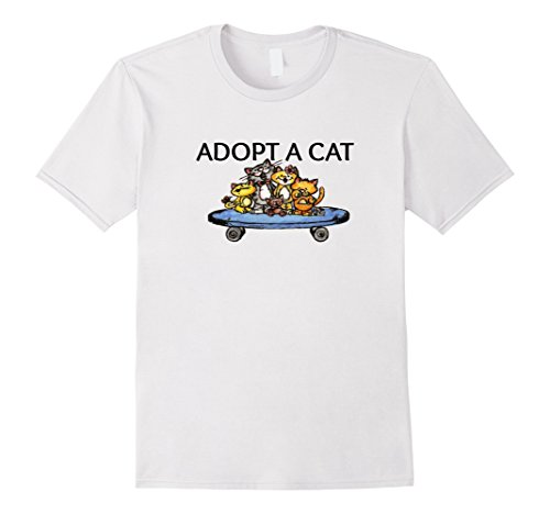 Adopt Cat (Mens Adopt A Cat T-Shirt Large White)