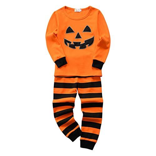 Kids Toddler Boys Girls Pumpkin Print Top + Long Striped Pants Halloween Outfits Set Orange