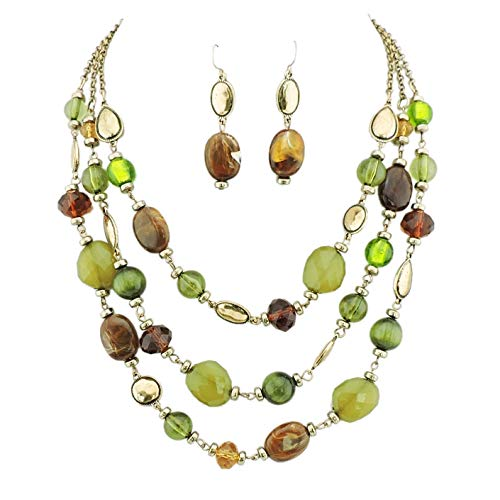 Strand Necklace 3 Beaded - Firstmeet 3 Layers Statement Collar Necklace Women earings (XL-1087-green)