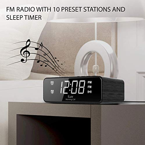 iLuv Wireless Charging Alarm Clock Radio with LED White Display, Dual Alarm, Super Loud Alarm Clock -Compatible with iPhone Xs Max, XR, X/Xs, Galaxy S9/S8/S7, AirPods 2G and More