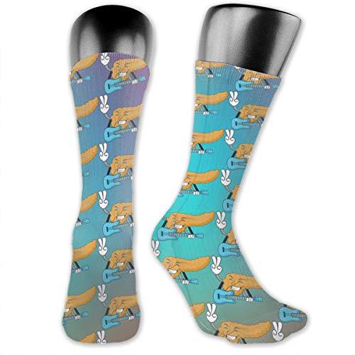 SARA NELL Men & Women Classics Crew Socks with Guitar Pancreas Mascot Cartoon Style Thick Warm Cotton Crew Winter Socks Personalized Gift Socks ()