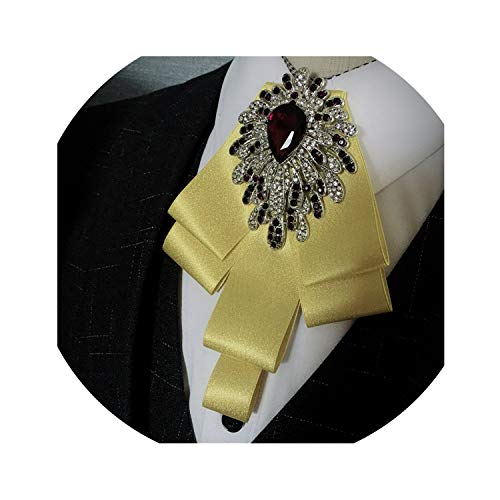Pocket Towel Bow Tie Men Groom Wedding Gold Diamond Wedding Dress Decoration Bow Tie Brooch,Golden 3