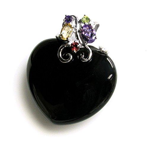 Rhodium On 925 Sterling Silver Flower Natural Black Onyx Heart Charm Pendant w/ Gemstones