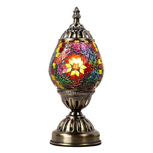 Marrakech Turkish Table Lamp Mosaic Glass Egg Bedside Lamp Moroccan Lantern Desk Night Light Light with Bronze Base for Living Room