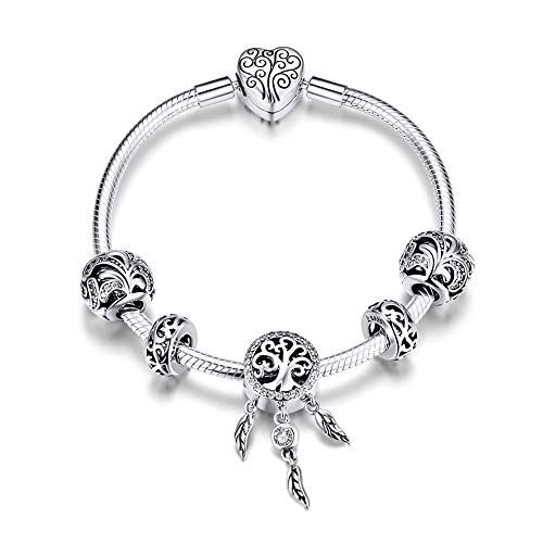 Dxlts Charm Bracelet for Woman 925 Sterling Silver Magic Forest Charms Beads Pendant Compatible European Bracelets & Necklaces Birthday Christmas Valentine's Day Thanksgiving,6.69in/17cm]()