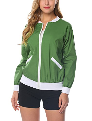 OD'lover Women's Raglan Sleeves Quilted Zip up Bomber Jacket (XX-Large, Green) ()