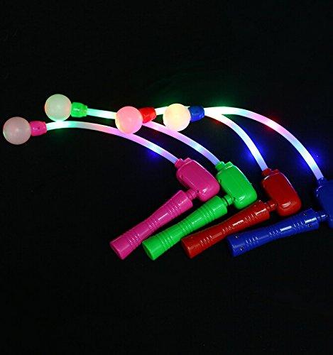 4 PACK Light Up Spinning Ratchet LED Ball Fiber Optic Matracas Wand Stick Flashing Show