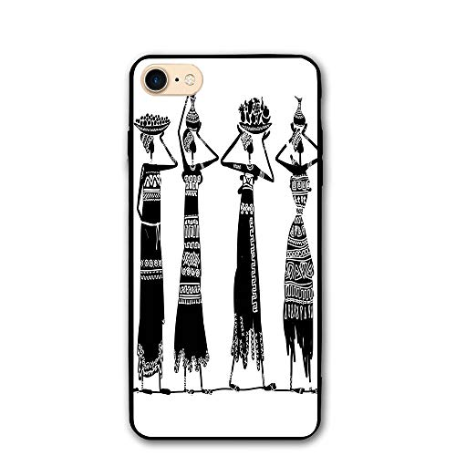 - Haixia iPhone 7/8 Case 4.7 inch African Woman Sketch Local Women Jugs Silhouettes Tribal Patterned Dresses Decorative Black White