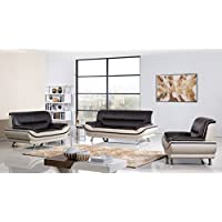 American Eagle Furniture 3 Piece Base Supported Upholstered Bonded Leather Living Room Set Sofa, Mahogany/Light Gray