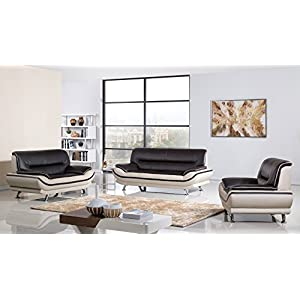 American Eagle Furniture 3 Piece Base Supported Upholstered Leather Living Room Set Sofa