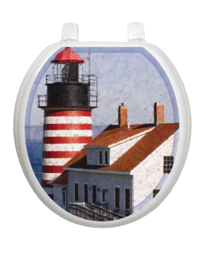 West Quoddy TT-1019-R Round Beach Theme Cover Bathroom by Toilet Tattoo