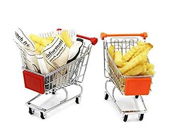 Mannily 2pcs francés Fry Soporte Soporte de Metal Mini Carrito de la Compra Cesta para Patatas Fritas Chips de Peces//Aperitivos (Rojo y Naranja): ...