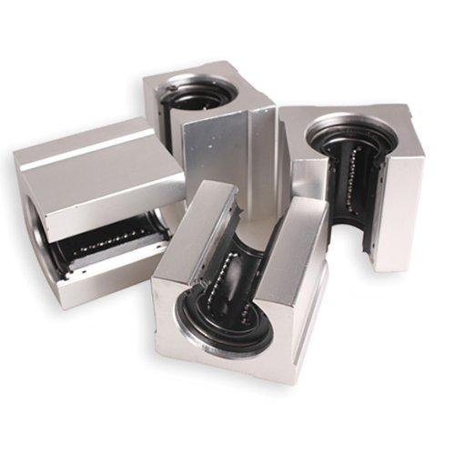 Vktech 4 Pcs Aluminum Open Linear Router Motion Bearing Solide Block (SBR20UU 20mm) (4 Linear Motion Bearing)