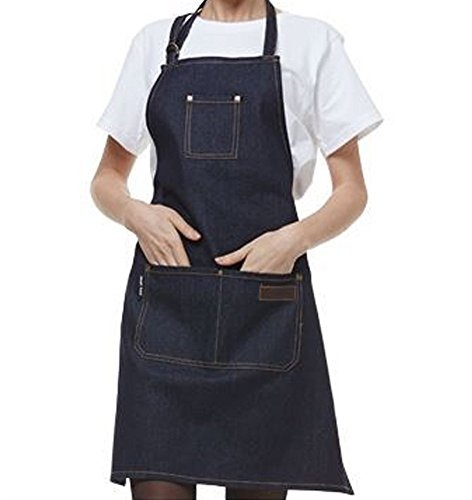 EQ Apron Chef Cotton Denim Apron Adjustable M to XL With Pockets for Women/Men
