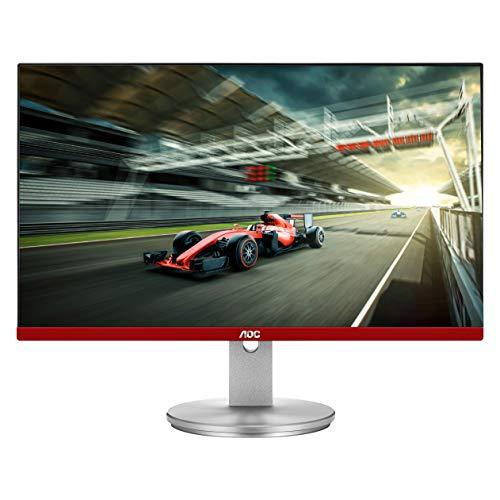 AOC Limited Edition G2490VXS Monitor de juegos sin marco de 24 clase con soporte plateado, FHD 1920 x 1080, 1 ms 144 Hz, FreeSync Premium, 126% sRGB / 93% DCI-P3, 3 años de reproducción cero píxeles muertos Negro