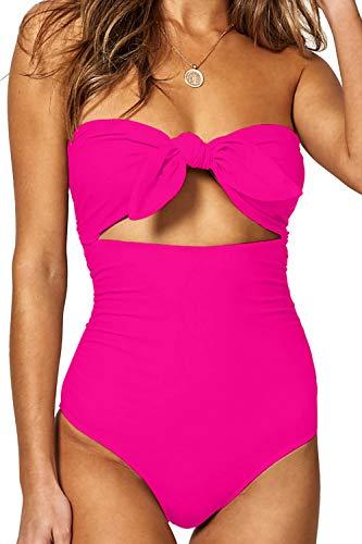 QINSEN Womens Sexy Strapless Tie Knot Front High Waist One Piece Swimsuit (L, Pink)
