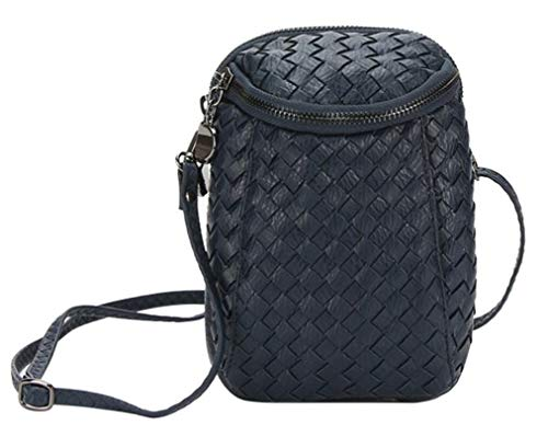 Messenger for iPhone Crossbody Old Bag Small Dual Girls Blue Bag Layers Shoulder 7s Plus Woven Leather Purse Zipper Women��s xPqHwf1Oq