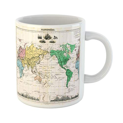 Tarolo 11 Oz Mug Coffee Mug Ceramic Tea Cup Vintage Antique 1875 Map of World Old City Atlas Border Political Large C-handle Family and Office Gift
