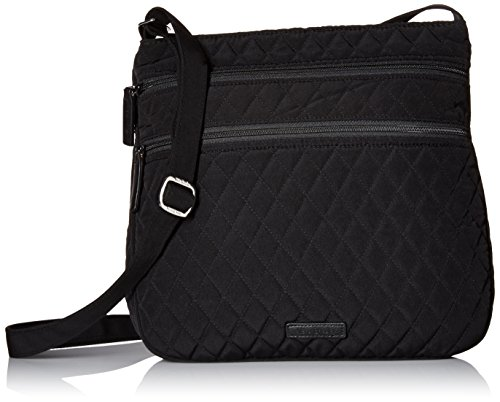 Vera Bradley Triple Zip Hipster Crossbody Shoulder Bag in Classic Black